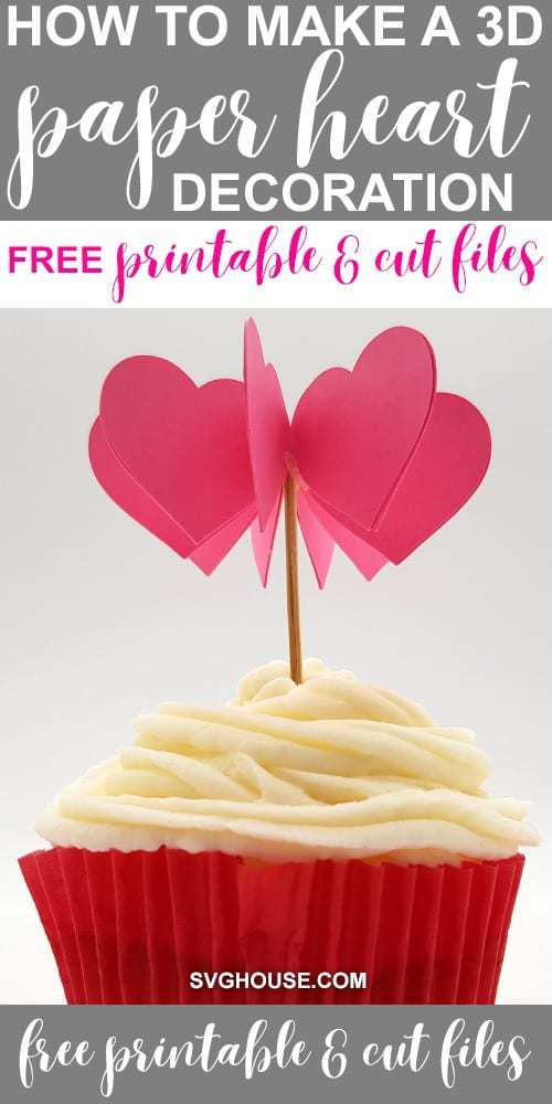 3D Paper Heart Template FREE printable