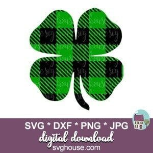 Buffalo Plaid Clover SVG
