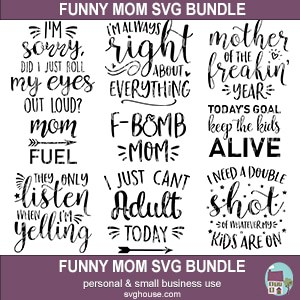 Funny Mom Svg Bundle 9 Designs