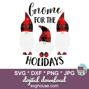 Download Gnome For The Holidays SVG Buffalo Plaid Cut Files For Cricut