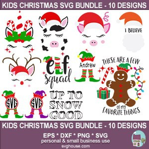 kids christmas svg bundle