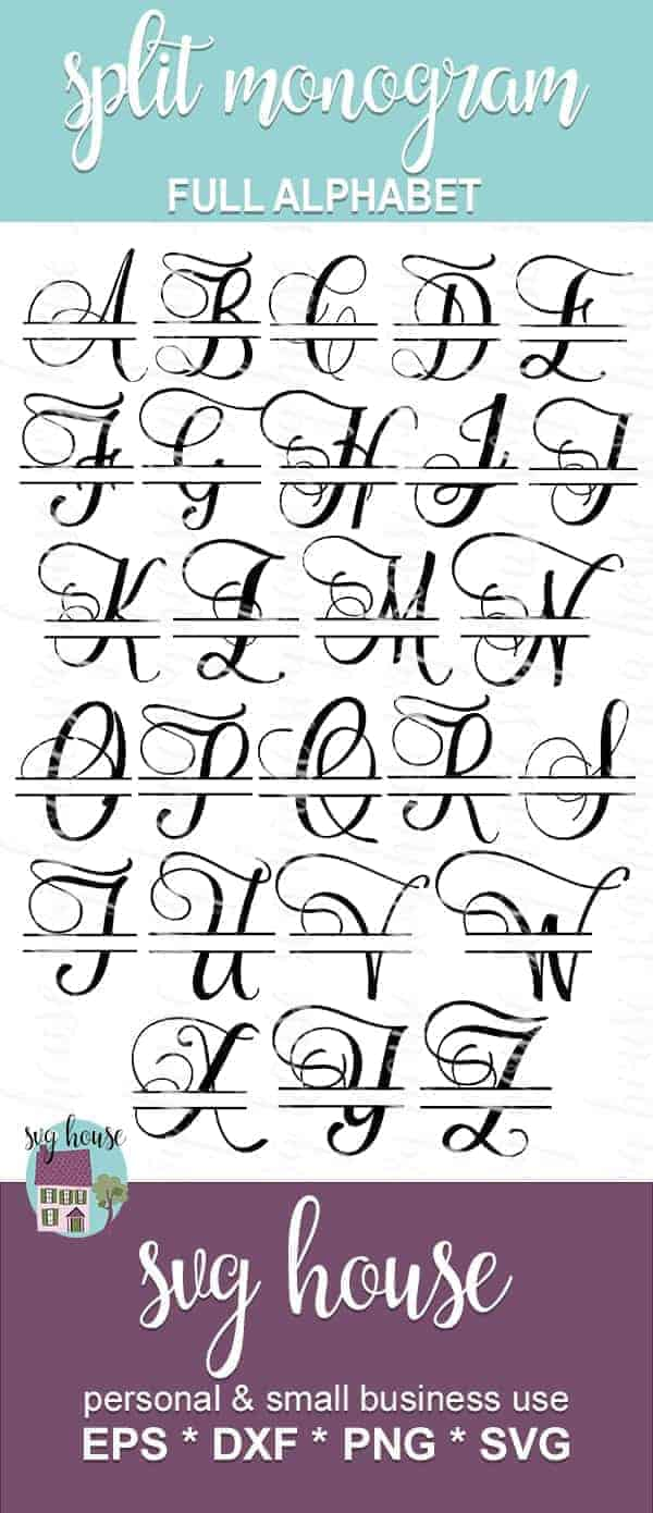 SPLIT MONOGRAM SVG full alphabet