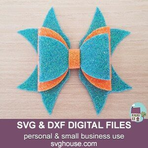 Double Ribbon Bow Template SVG