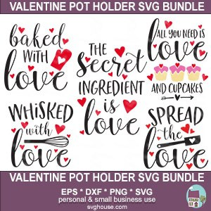 Valentines Pot Holder SVG Bundle