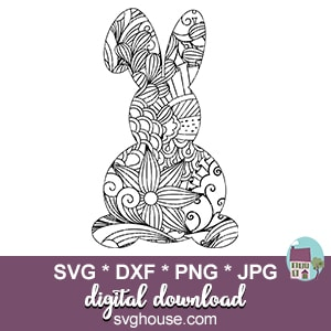 Zentangle Bunny SVG