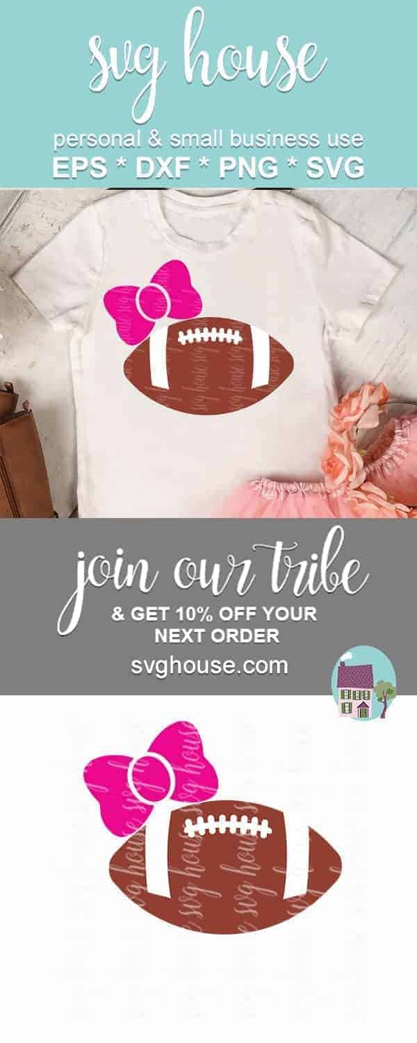 bow and football svg cut file
