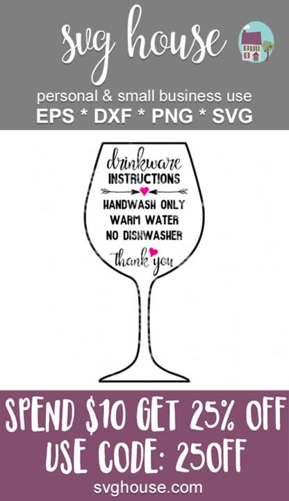 drinkware care instructions svg