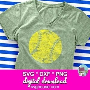 grunge softball svg file
