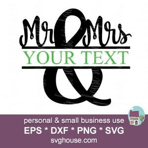 mr and mrs split monogram frame svg