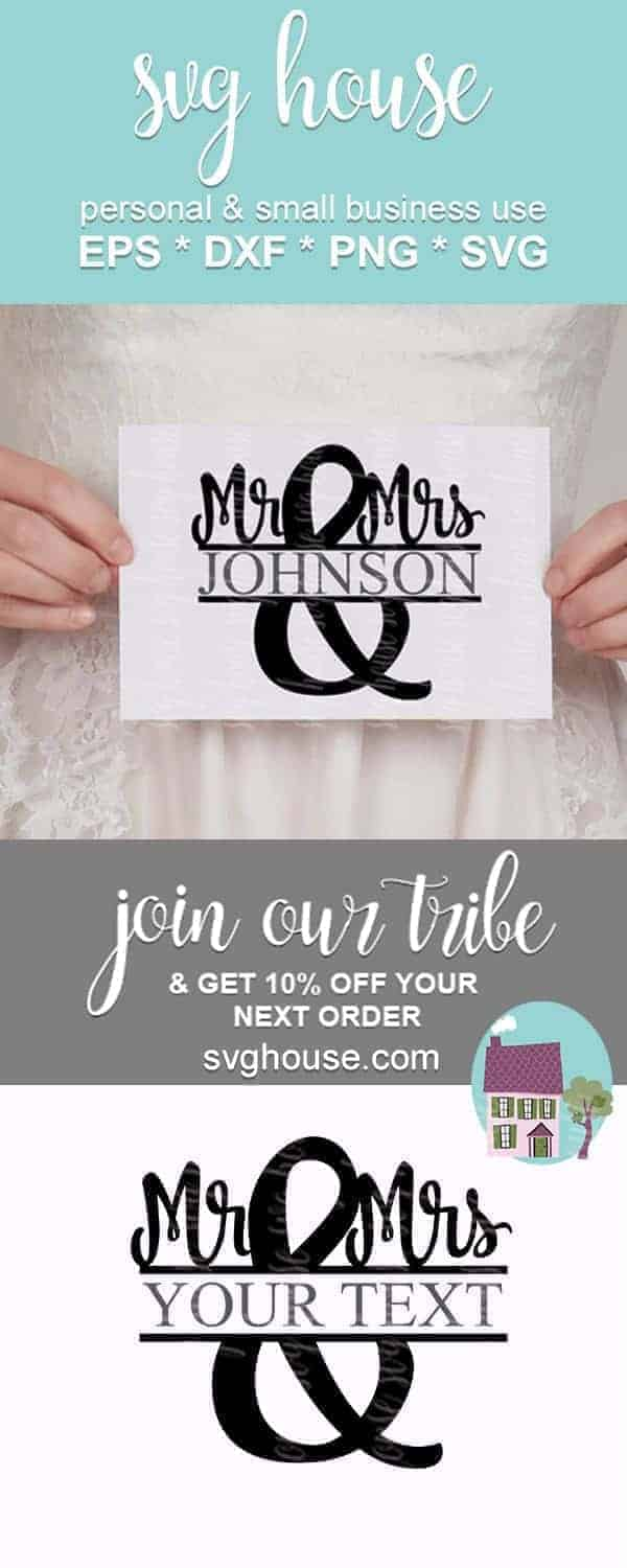 mr and mrs split monogram frame svg cut files
