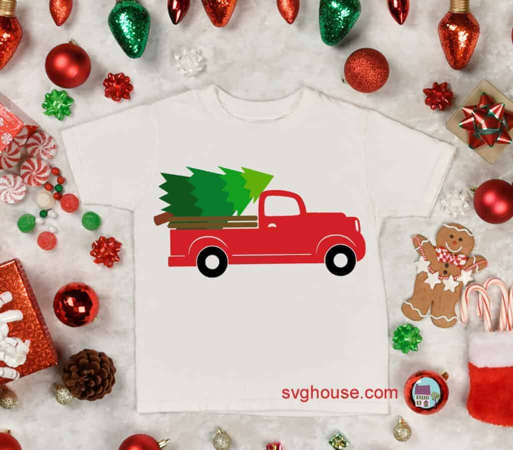 truck with christmas tree svg
